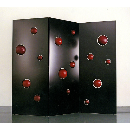 MDF light, lacquered wood, freeblown glass with cut surface 88 5/8 X 7 1/2 X 66 7/8 inches