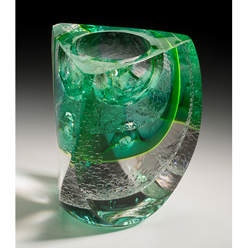 Blown, hotworked, coldworked glass 6 1/2 X 6 1/2 X 7 inches