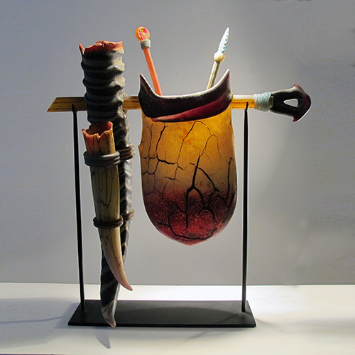 Blown glass, steel stand 21 1/2 X 8 X 25 1/2 inches