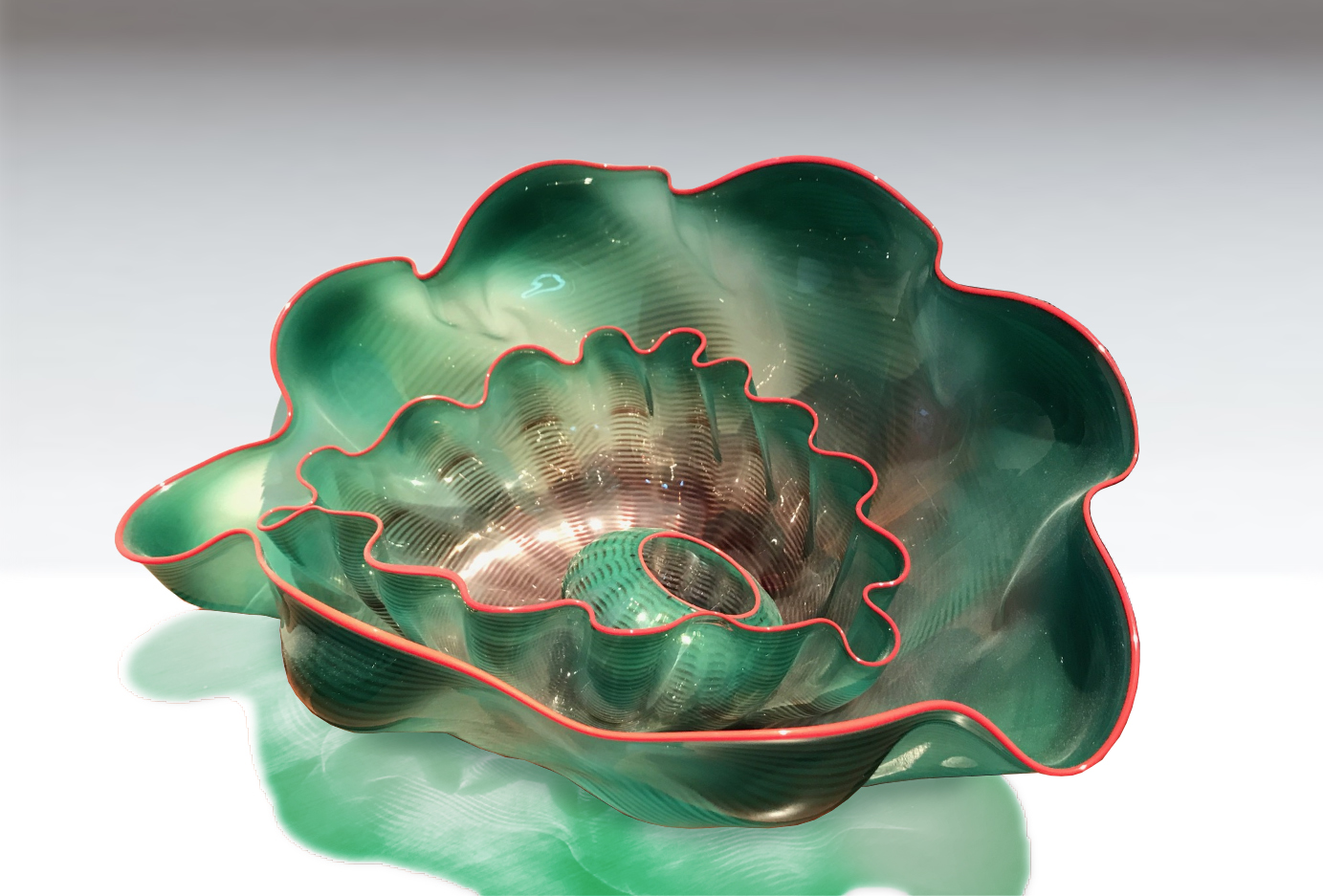 Green Seaform with Oxblood Lip Wrap (5 Pieces), 1989