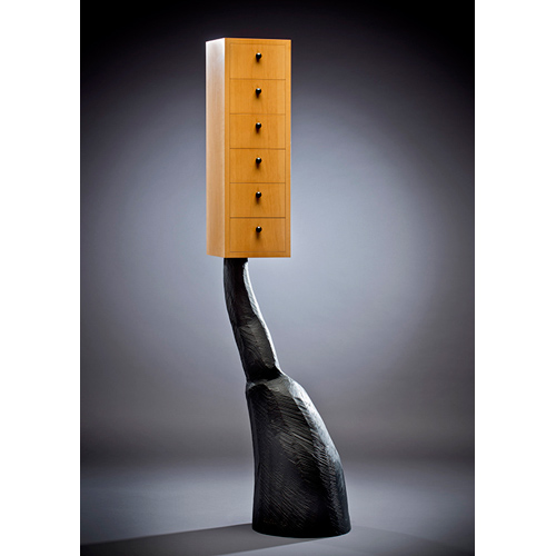 carved black wood base, blonde wood doors 11 X 18 X 60 inches