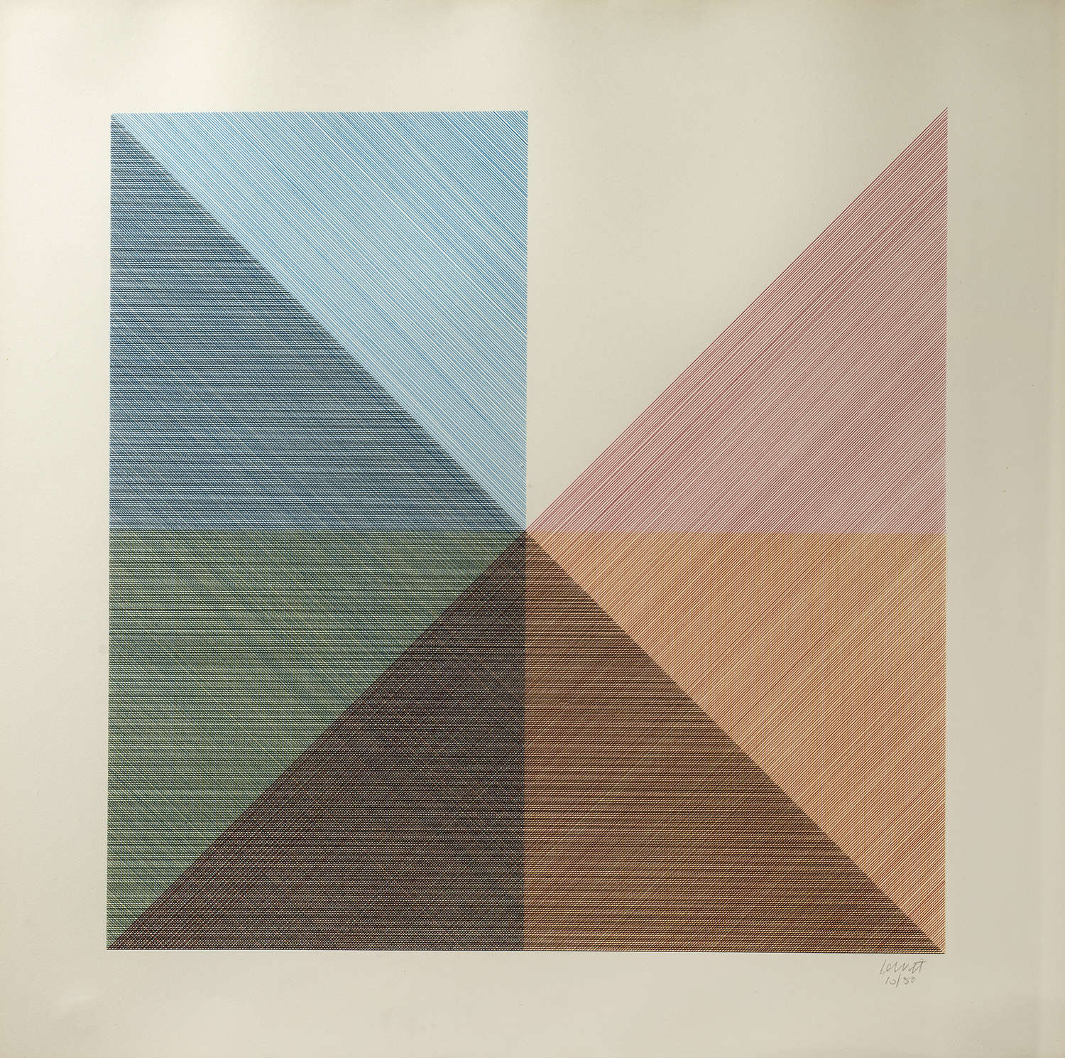 Eight Squares With A Different Color In Each Half Square (Divided Horizontally And Vertically), 1980