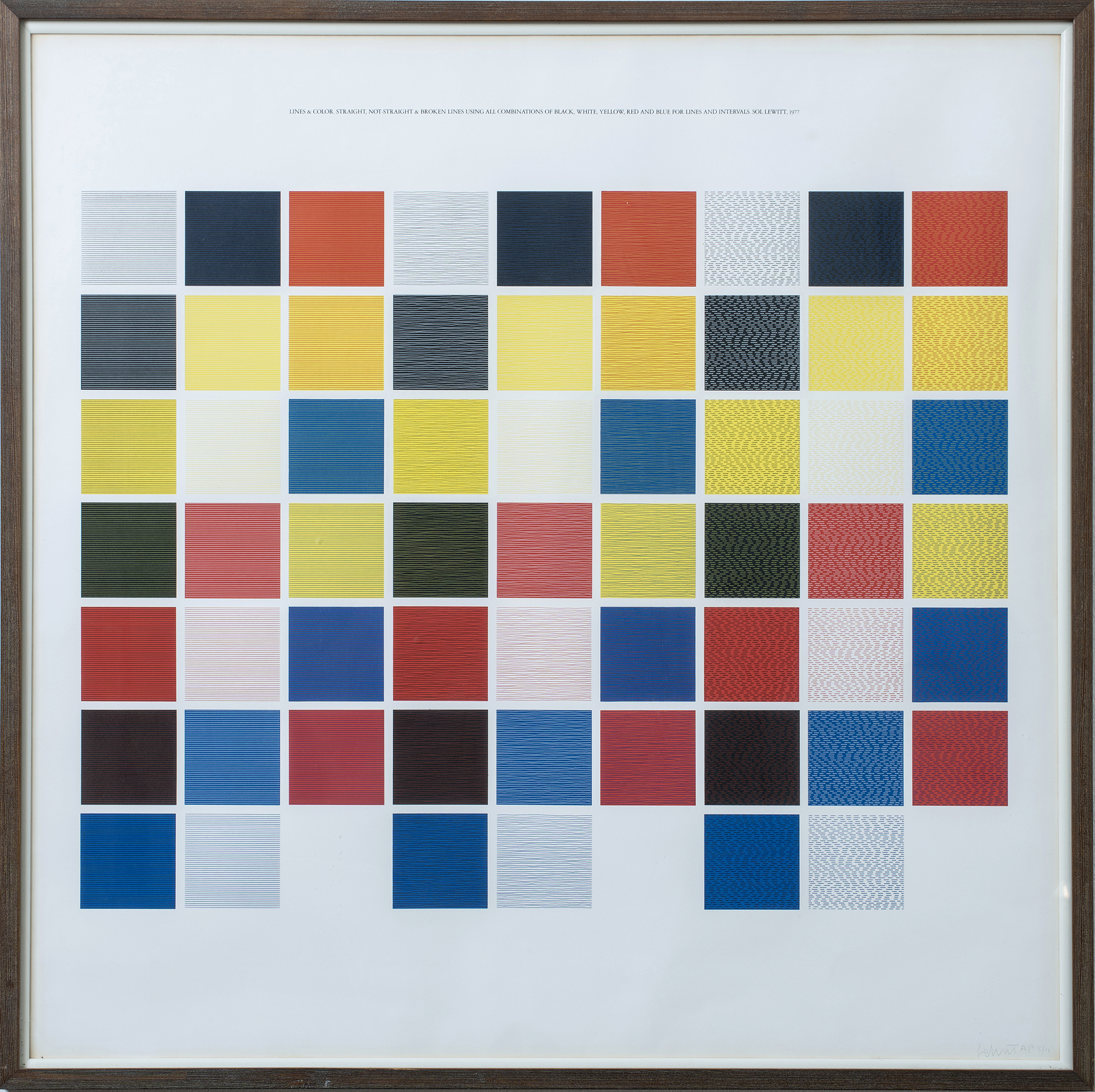 Lines and color, straight, not-straight and broken lines using combinations of black, white, yellow, red and blue for lines and intervals, 1977